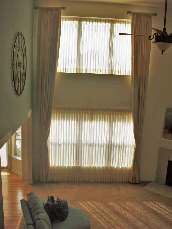 Tall Double-Window Living Room Draperies