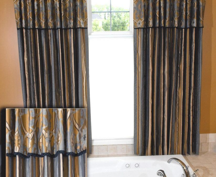 Master Bath Honeycomb Blinds with Drapery